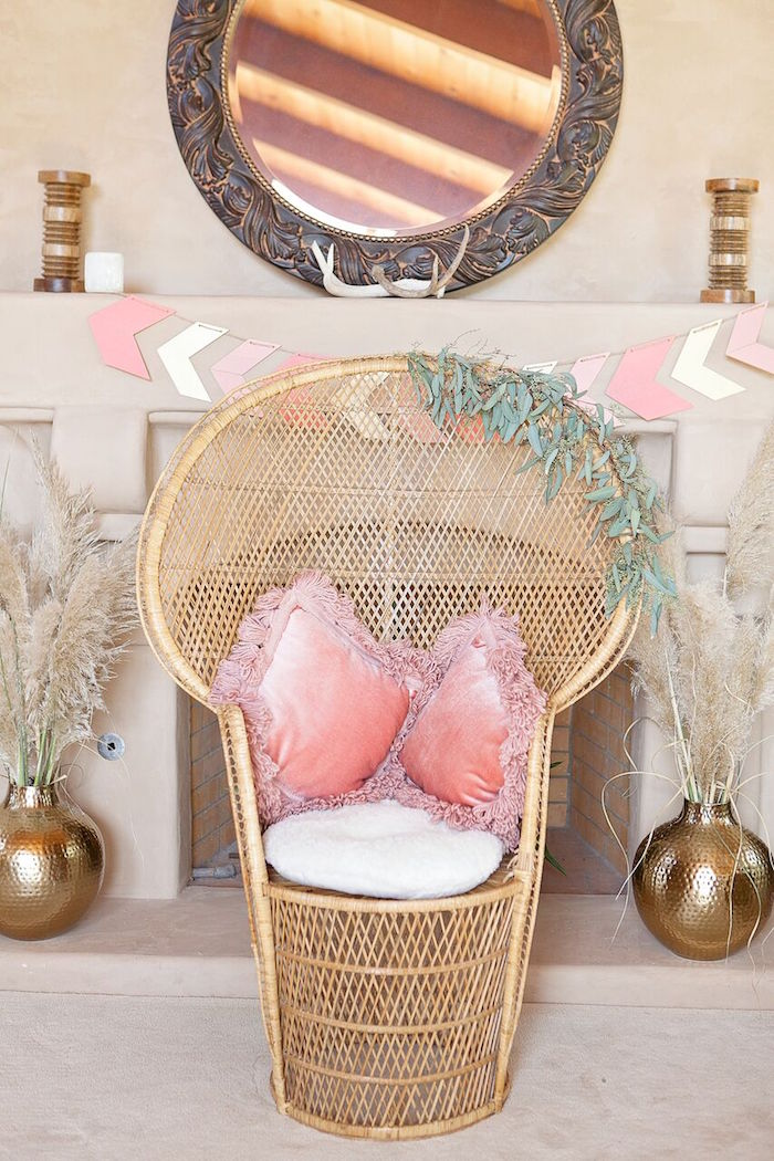 Guest of Honor chair from a Boho Chic Baby Shower on Kara's Party Ideas | KarasPartyIdeas.com (51)