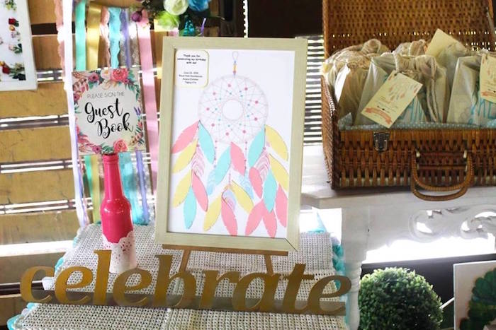 Guestbook Dreamcatcher Signature Board From A Boho Chic Birthday Party On Karas Ideas