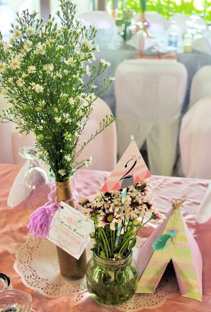 Guest table centerpieces from a Boho Chic Birthday Party on Kara's Party Ideas | KarasPartyIdeas.com (32)