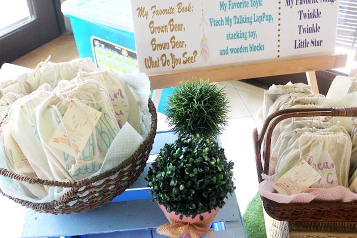Drawstring favor bags and green topiaries from a Boho Chic Birthday Party on Kara's Party Ideas | KarasPartyIdeas.com (29)