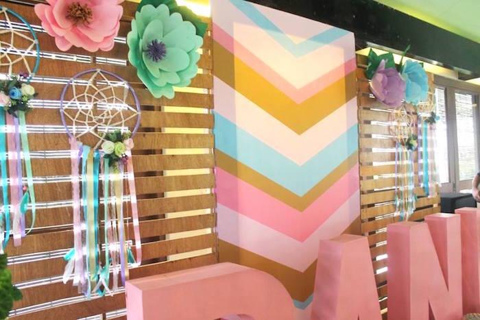 Boho backdrop from a Boho Chic Birthday Party on Kara's Party Ideas | KarasPartyIdeas.com (25)