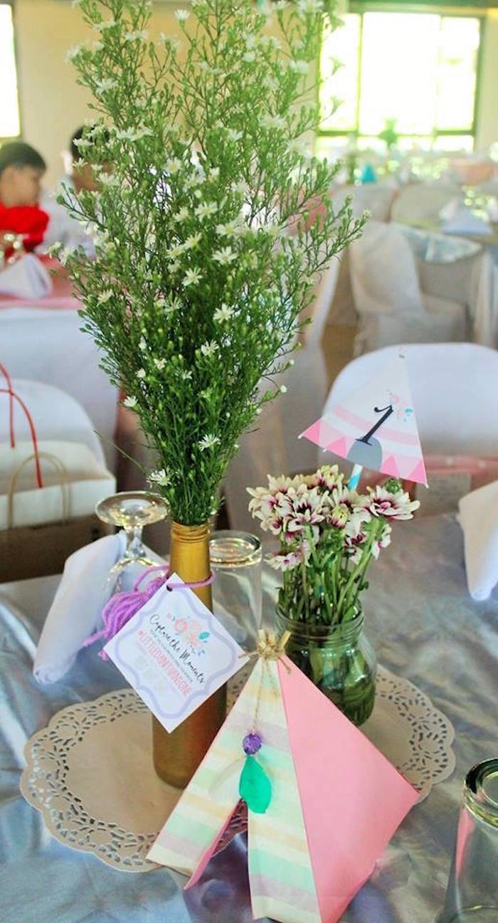 Guest Table Centerpieces From A Boho Chic Birthday Party On Karas Ideas