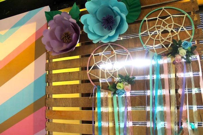 Paper flower & dreamcatcher backdrop from a Boho Chic Birthday Party on Kara's Party Ideas | KarasPartyIdeas.com (20)