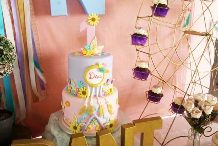 Girly boho cake from a Boho Chic Birthday Party on Kara's Party Ideas | KarasPartyIdeas.com (17)