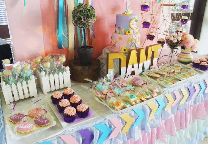 Sweet tablescape from a Boho Chic Birthday Party on Kara's Party Ideas | KarasPartyIdeas.com (10)