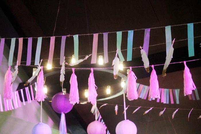 Overhead bunting & garland from a Boho Chic Birthday Party on Kara's Party Ideas | KarasPartyIdeas.com (6)