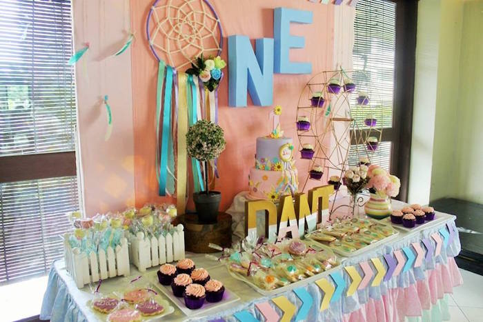 Boho chic dessert table from a Boho Chic Birthday Party on Kara's Party Ideas | KarasPartyIdeas.com (37)