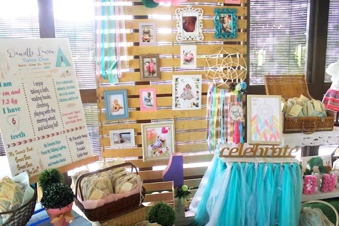 Photo wall and signing table from a Boho Chic Birthday Party on Kara's Party Ideas | KarasPartyIdeas.com (36)