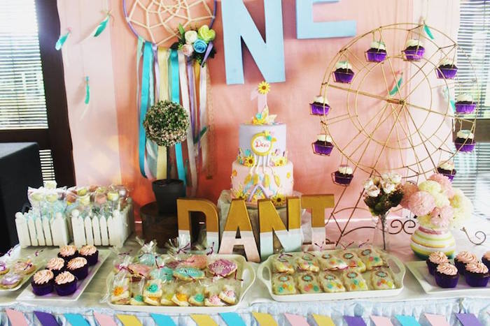 Sweet table detail from a Boho Chic Birthday Party on Kara's Party Ideas | KarasPartyIdeas.com (35)
