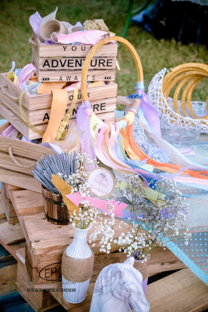 Dreamcatcher creation station from a Boho Tribal Birthday Party on Kara's Party Ideas | KarasPartyIdeas.com (32)