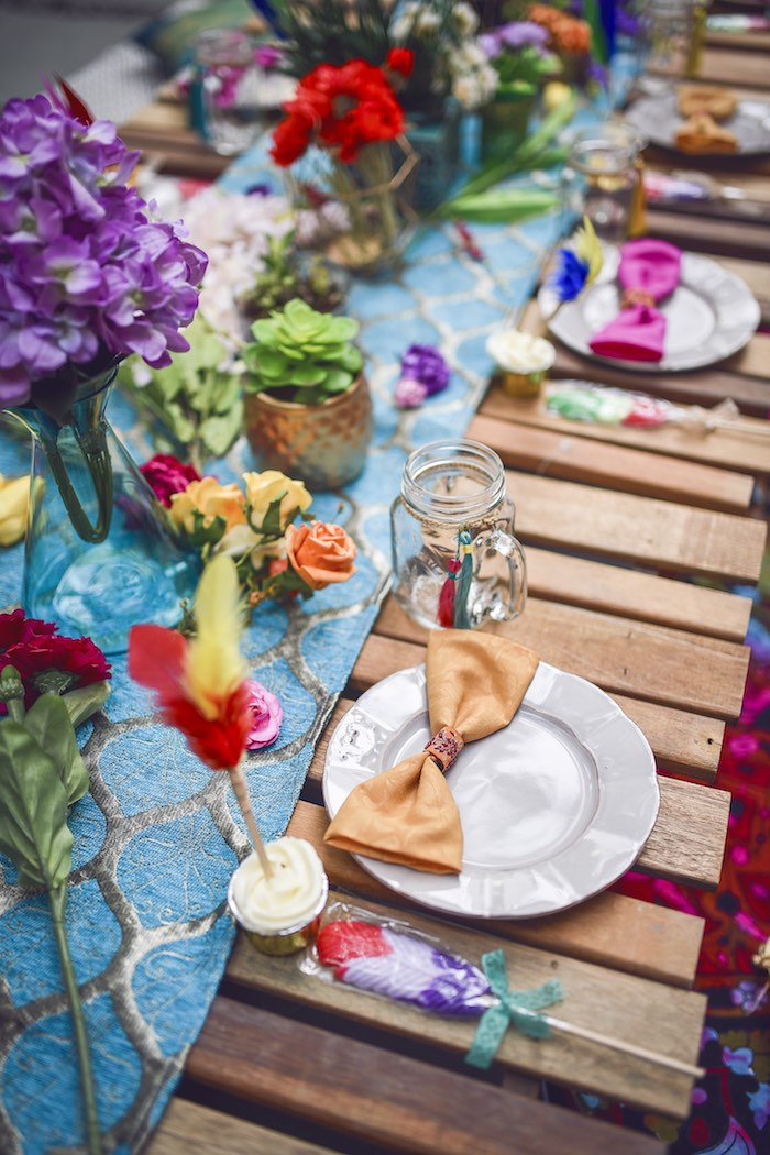 Tribal place setting from a Boho Tribal Birthday Party on Kara's Party Ideas | KarasPartyIdeas.com (26)