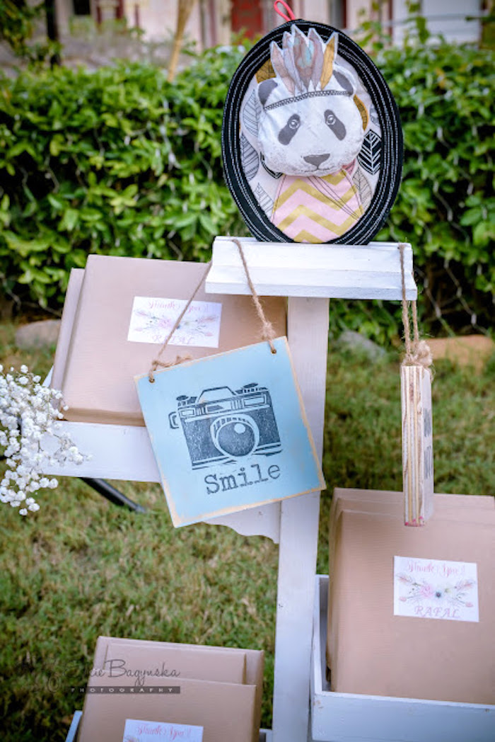 Favors and photo props from a Boho Tribal Birthday Party on Kara's Party Ideas | KarasPartyIdeas.com (30)