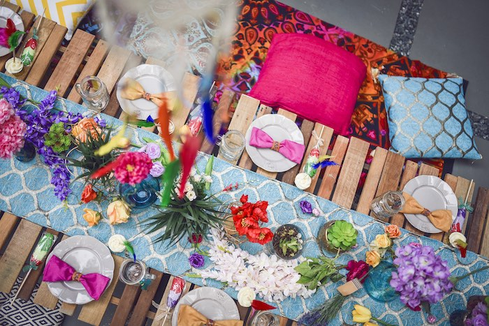 Guest tablescape from a Boho Tribal Birthday Party on Kara's Party Ideas | KarasPartyIdeas.com (24)