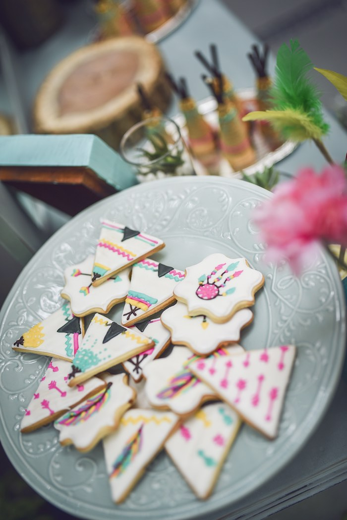 Tribal cookies from a Boho Tribal Birthday Party on Kara's Party Ideas | KarasPartyIdeas.com (21)