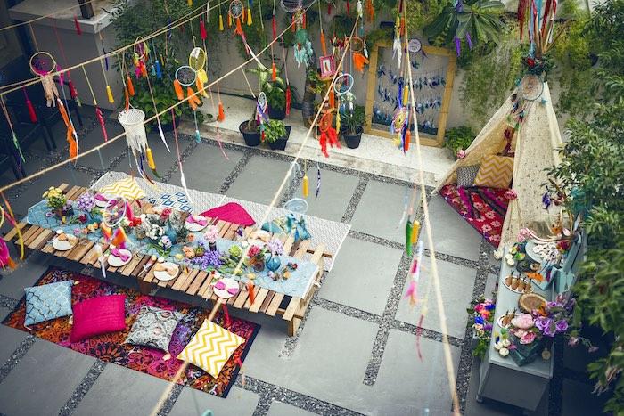Overhead-view of a Boho Tribal Birthday Party on Kara's Party Ideas | KarasPartyIdeas.com (18)