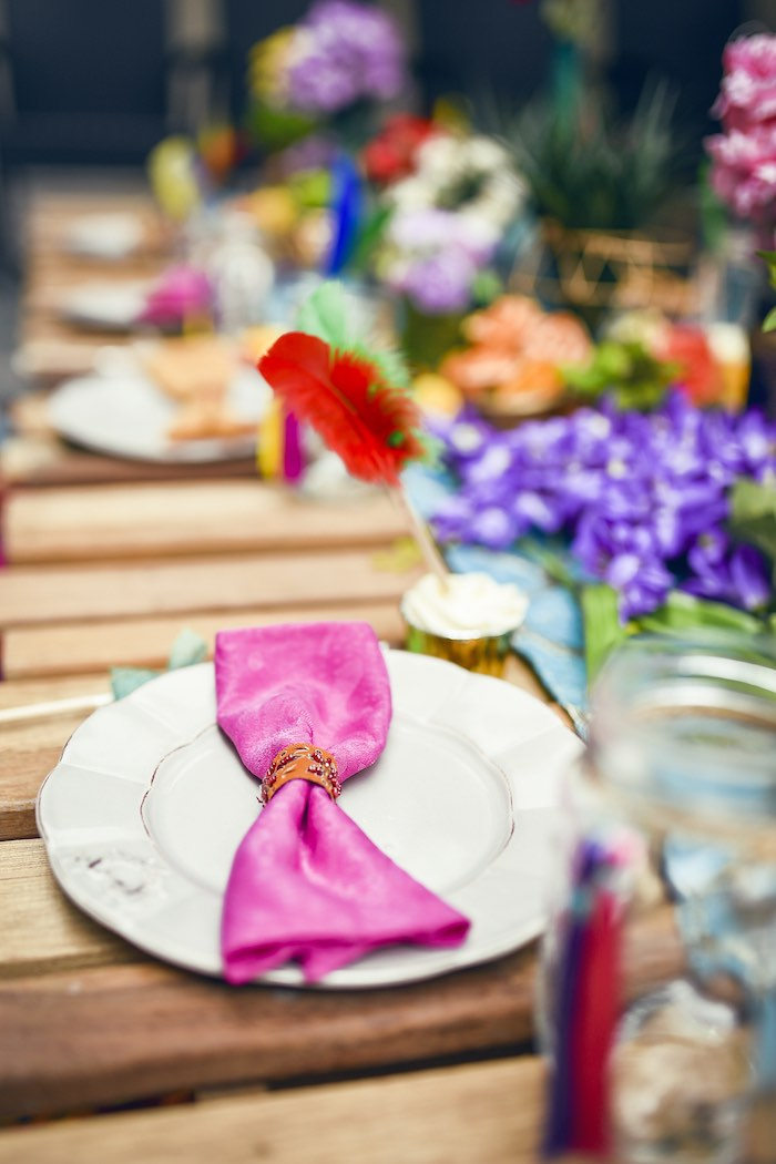 Place setting from a Boho Tribal Birthday Party on Kara's Party Ideas | KarasPartyIdeas.com (16)