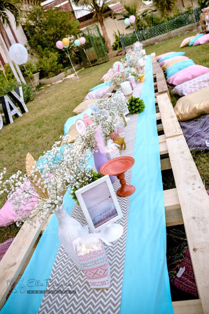 Guest tablescape from a Boho Tribal Birthday Party on Kara's Party Ideas | KarasPartyIdeas.com (19)