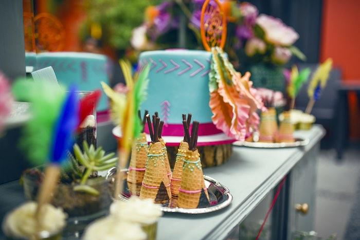 Cake table from a Boho Tribal Birthday Party on Kara's Party Ideas | KarasPartyIdeas.com (14)