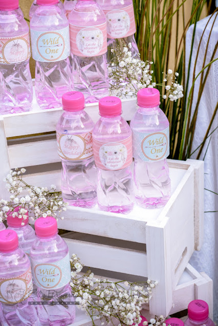 Drink bottles from a Boho Tribal Birthday Party on Kara's Party Ideas | KarasPartyIdeas.com (18)