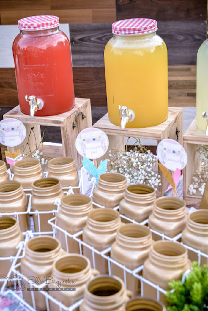 Beverages & gold mason jar cups from a Boho Tribal Birthday Party on Kara's Party Ideas | KarasPartyIdeas.com (17)