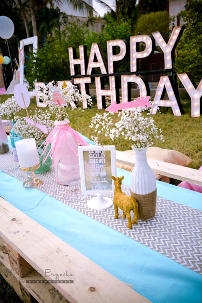 Guest tablescape from a Boho Tribal Birthday Party on Kara's Party Ideas | KarasPartyIdeas.com (42)