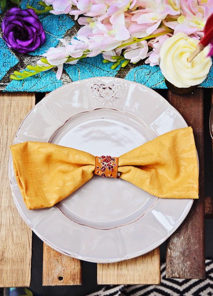 Table Setting from a Boho Tribal Birthday Party on Kara's Party Ideas | KarasPartyIdeas.com (7)