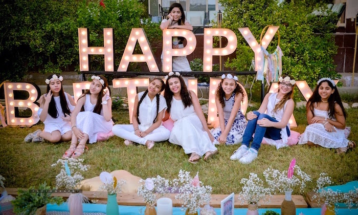 Marquee light sign from a Boho Tribal Birthday Party on Kara's Party Ideas | KarasPartyIdeas.com (5)