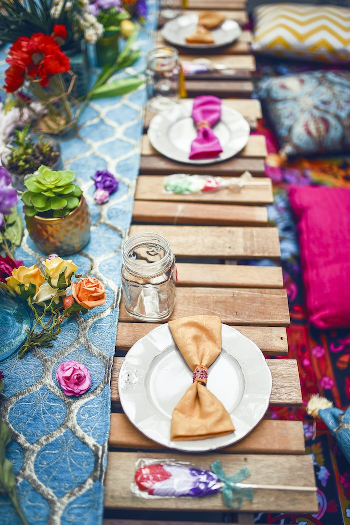 Place settings from a Boho Tribal Birthday Party on Kara's Party Ideas | KarasPartyIdeas.com (37)