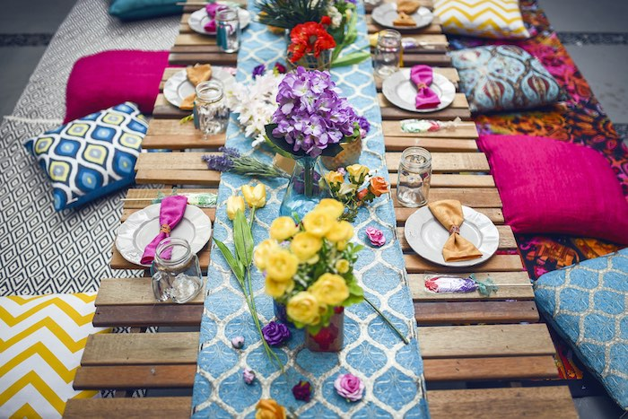 Guest tabletop from a Boho Tribal Birthday Party on Kara's Party Ideas | KarasPartyIdeas.com (36)