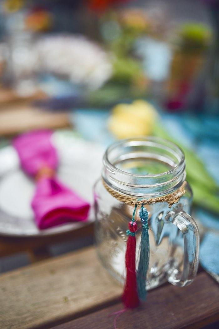 Tribal mason jar cup from a Boho Tribal Birthday Party on Kara's Party Ideas | KarasPartyIdeas.com (35)