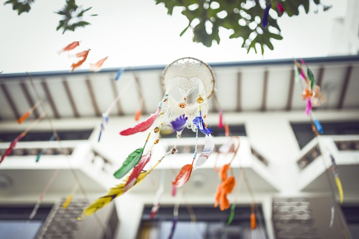 Hanging dreamcatcher from a Boho Tribal Birthday Party on Kara's Party Ideas | KarasPartyIdeas.com (34)