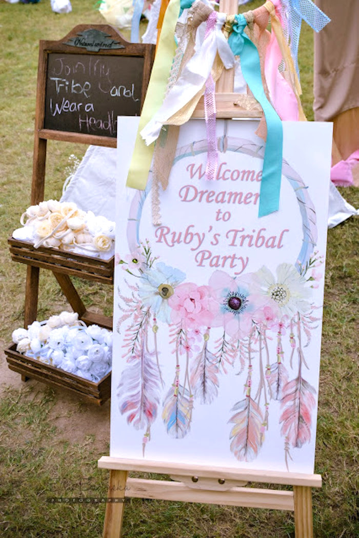 Welcome sign from a Boho Tribal Birthday Party on Kara's Party Ideas | KarasPartyIdeas.com (36)