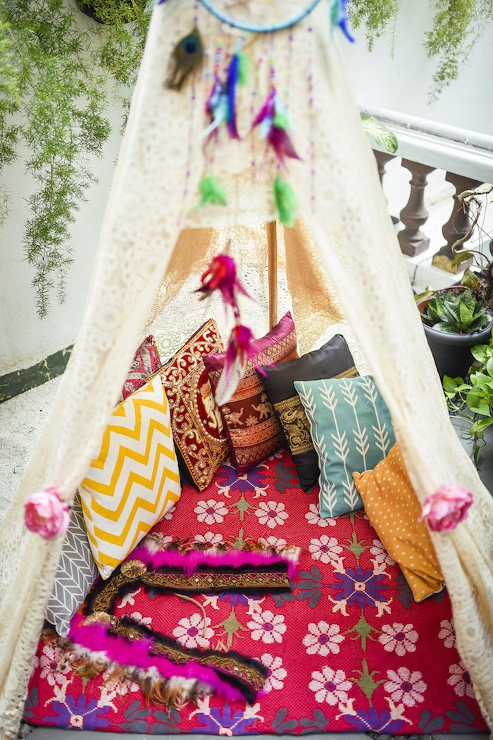 Teepee lounge from a Boho Tribal Birthday Party on Kara's Party Ideas | KarasPartyIdeas.com (31)
