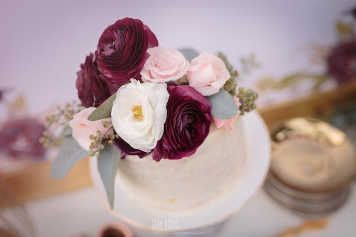Beautiful cake from a Burgundy, Blush & Gold Boho Baby Shower on Kara's Party Ideas | KarasPartyIdeas.com (10)