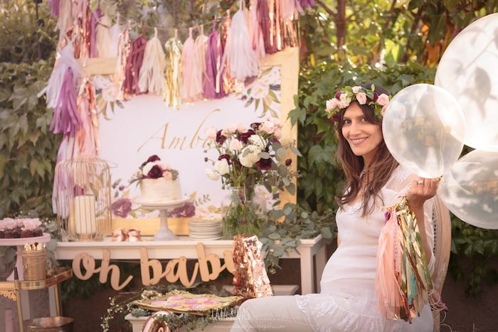 Burgundy, Blush & Gold Boho Baby Shower on Kara's Party Ideas | KarasPartyIdeas.com (5)