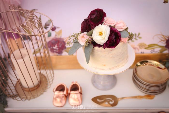 Floral-topped cake from a Burgundy, Blush & Gold Boho Baby Shower on Kara's Party Ideas | KarasPartyIdeas.com (4)