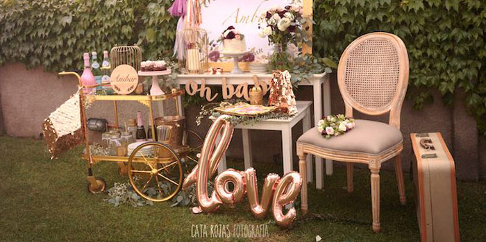 Burgundy, Blush & Gold Boho Baby Shower on Kara's Party Ideas | KarasPartyIdeas.com (1)