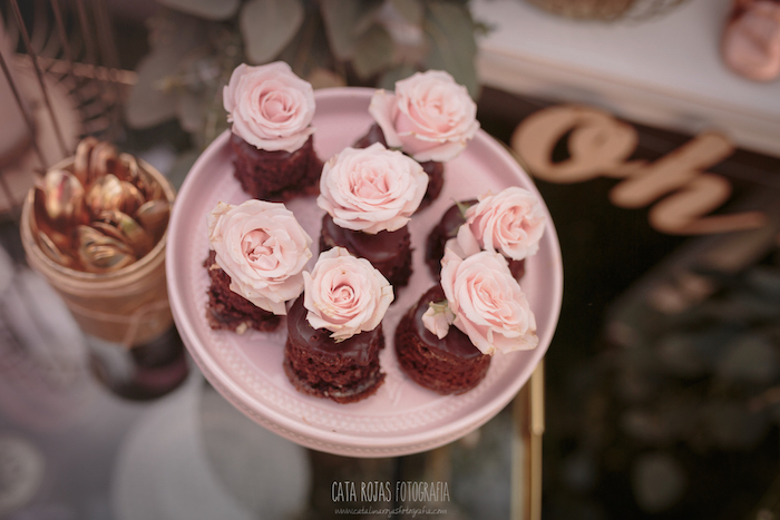Mini rose-topped chocolate cakes from a Burgundy, Blush & Gold Boho Baby Shower on Kara's Party Ideas | KarasPartyIdeas.com (19)