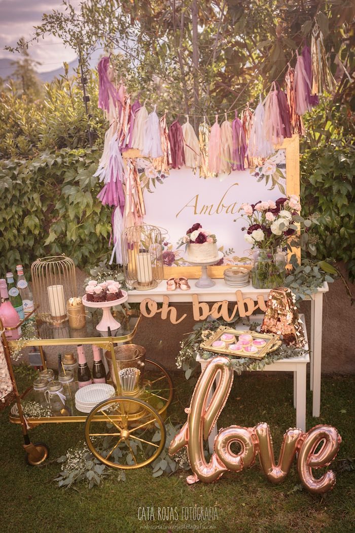 Burgundy, Blush & Gold Boho Baby Shower on Kara's Party Ideas | KarasPartyIdeas.com (18)