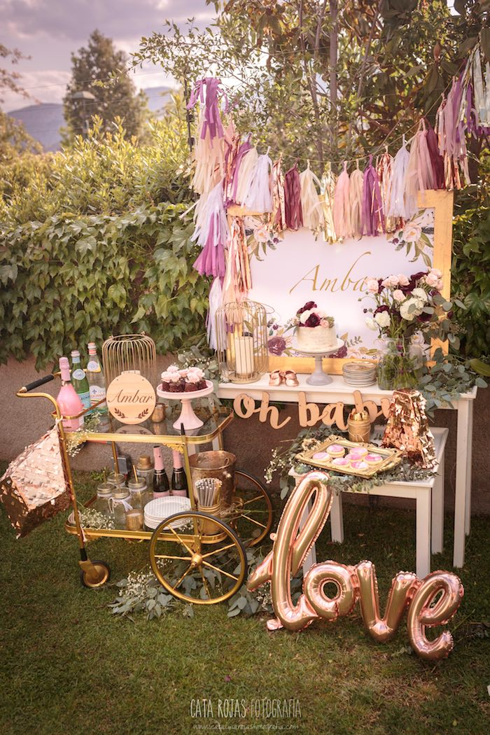 Burgundy, Blush & Gold Boho Baby Shower on Kara's Party Ideas | KarasPartyIdeas.com (17)
