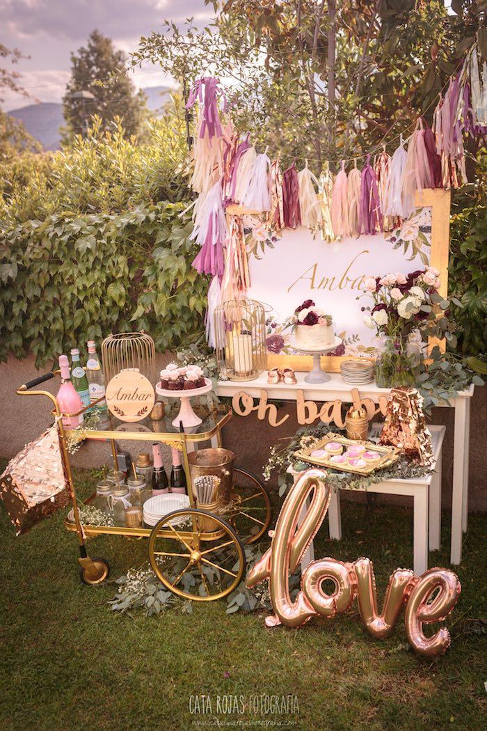 Burgundy, Blush & Gold Boho Baby Shower on Kara's Party Ideas | KarasPartyIdeas.com (17)