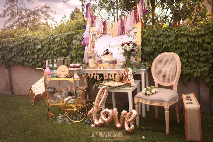 Boho glam party spread from a Burgundy, Blush & Gold Boho Baby Shower on Kara's Party Ideas | KarasPartyIdeas.com (15)