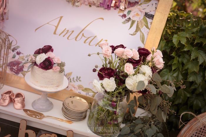 Gorgeous cake and flowers from a Burgundy, Blush & Gold Boho Baby Shower on Kara's Party Ideas | KarasPartyIdeas.com (14)