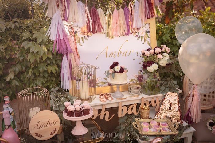 Sweet tablescape from a Burgundy, Blush & Gold Boho Baby Shower on Kara's Party Ideas | KarasPartyIdeas.com (13)