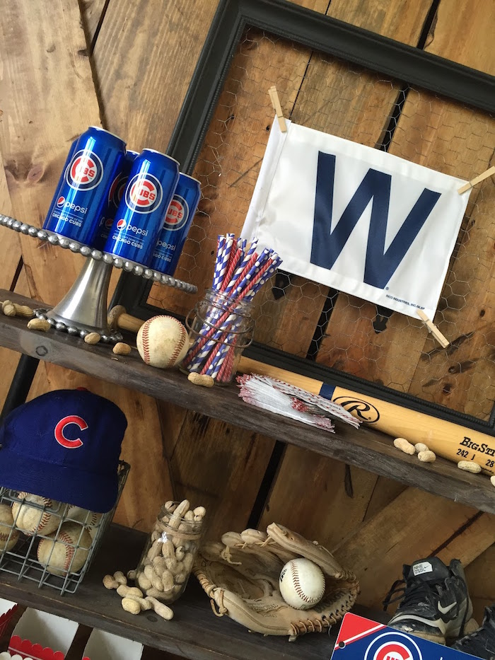 Head table detail from a Chicago Cubs Baseball Party on Kara's Party Ideas | KarasPartyIdeas.com (7)
