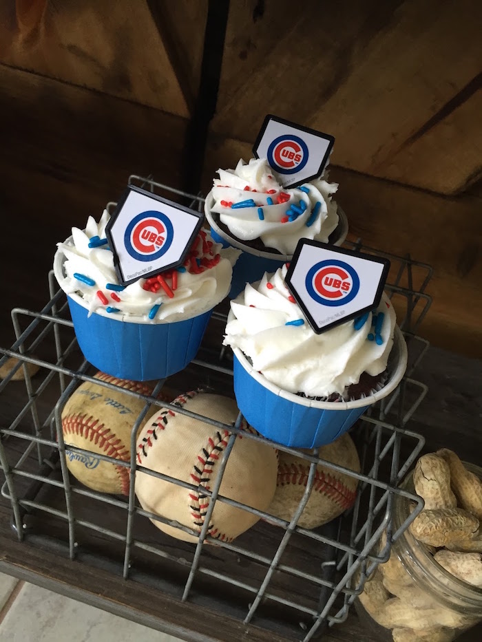 Chicago Cubs cupcakes from a Chicago Cubs Baseball Party on Kara's Party Ideas | KarasPartyIdeas.com (15)