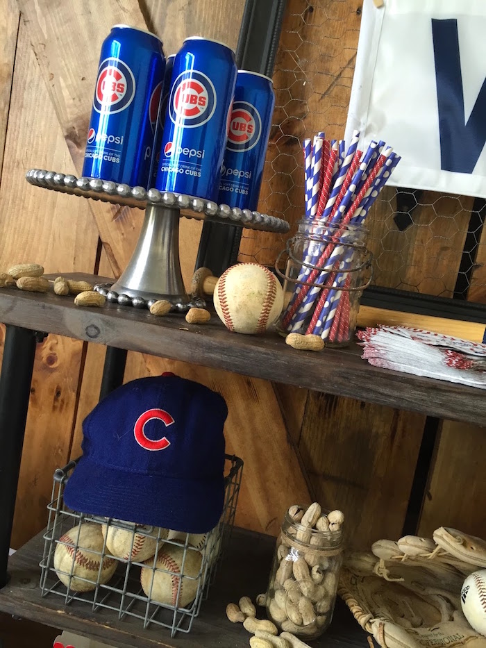 Drinks, straws and peanuts from a Chicago Cubs Baseball Party on Kara's Party Ideas | KarasPartyIdeas.com (8)