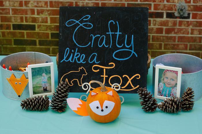 Craft table from a Crafty Like a Fox Birthday Party on Kara's Party Ideas   KarasPartyIdeas.com (21)