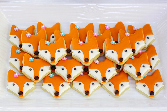 Fox cookies from a Crafty Like a Fox Birthday Party on Kara's Party Ideas   KarasPartyIdeas.com (16)