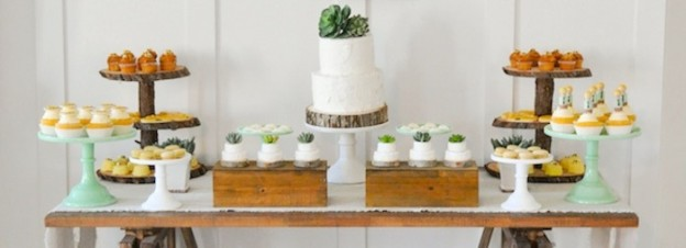 Dessert table at a bee baptized baptism luncheon party (succulent accents)! Eight is great, lds baptism party ideas by Kara's Party Ideas | Kara Allen | KarasPartyIdeas.com
